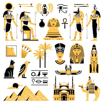 Conjunto de iconos decorativos de símbolos de egipto