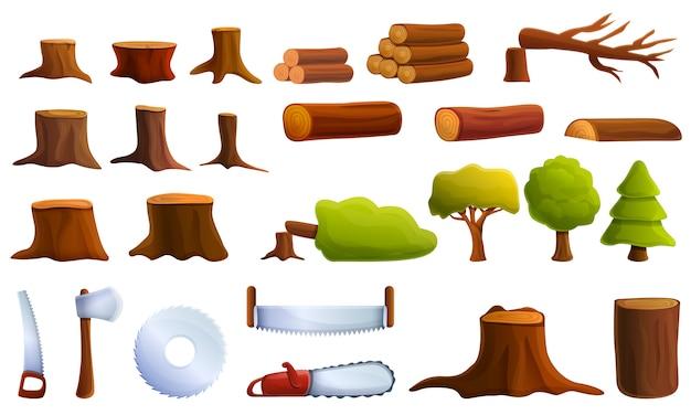 Conjunto de iconos de deforestación, estilo de dibujos animados