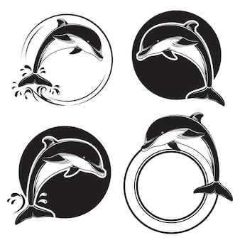 Conjunto de iconos de delfín negro