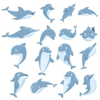 Conjunto de iconos de delfines, estilo de dibujos animados