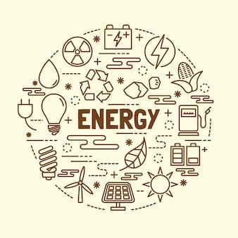 Conjunto de iconos de delgada línea de energía mínima