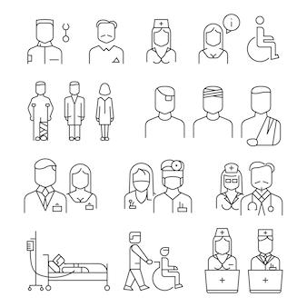 Conjunto de iconos de delgada línea de personal del hospital