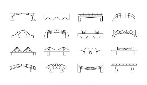 Conjunto de iconos de delgada línea de puentes