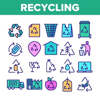 Conjunto de iconos de delgada línea de reciclaje