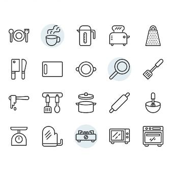 Conjunto de iconos de delgada línea de utensilios de cocina