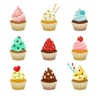 Conjunto de iconos de deliciosos cupcakes de colores