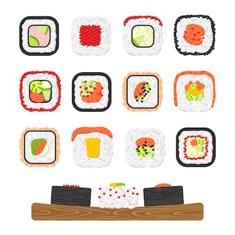 Conjunto de iconos de deliciosos rollos de sushi de colores
