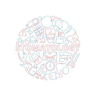Conjunto de iconos dentales. forma circular con dientes de estomatología
