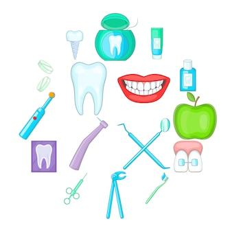 Conjunto de iconos de dentista, estilo de dibujos animados