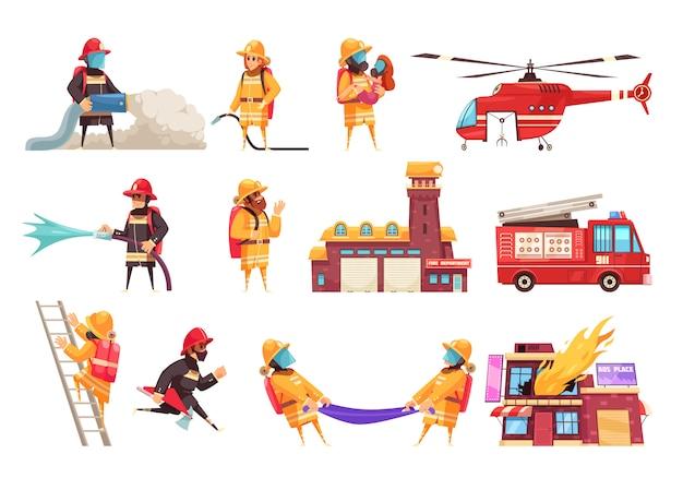 Conjunto de iconos del departamento de bomberos