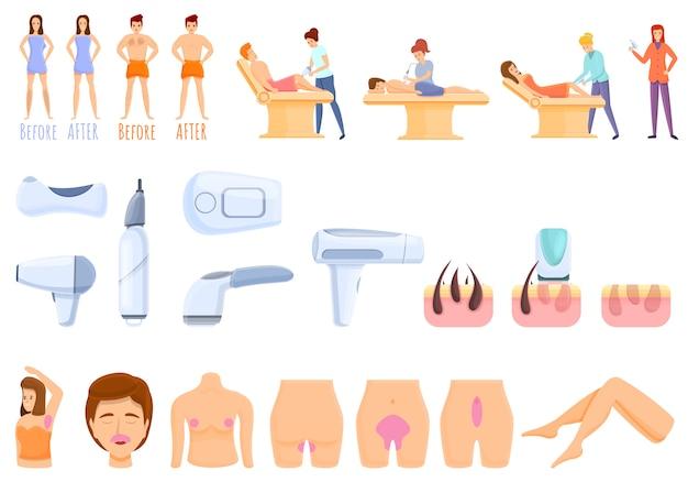 Conjunto de iconos de depilación láser, estilo de dibujos animados