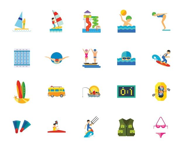 Conjunto de iconos de deporte acuático
