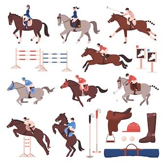 Conjunto de iconos de deporte ecuestre