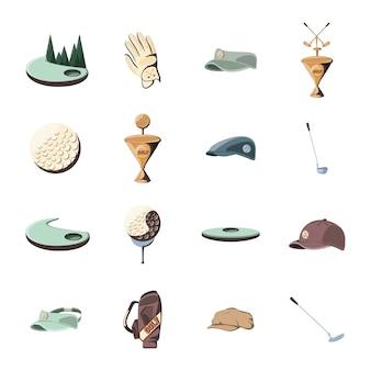 Conjunto de iconos de deporte golf aislado