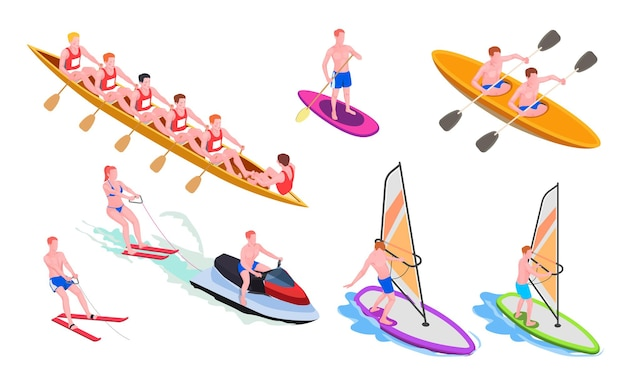 Conjunto de iconos de deportes acuáticos aislados e isométricos con buceo, windsurf, piragüismo, remo, snorkel, ilustración