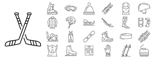 Conjunto de iconos de deportes de invierno, estilo de contorno