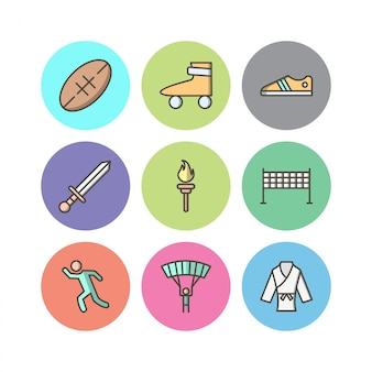 Conjunto de iconos de deportes y juegos para uso personal y comercial