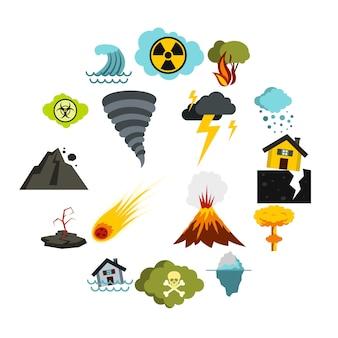 Conjunto de iconos de desastres naturales, ctyle plana