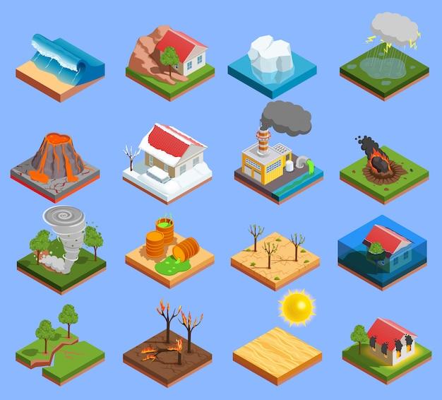 Conjunto de iconos de desastres naturales