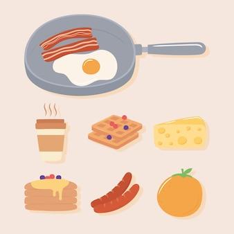 Conjunto de iconos de desayuno, huevo frito y tocino en una cacerola, ilustración de panqueques de naranja de salchicha de café
