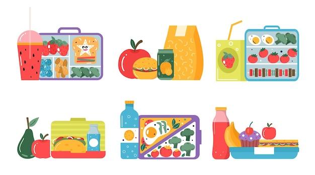 Conjunto de iconos desayuno o almuerzo. alimentos, bebidas para niños, cajas de almuerzo escolar con comida, hamburguesa, sándwich, jugo, bocadillos, frutas, verduras. colección de vectores.