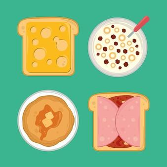 Conjunto de iconos de desayuno