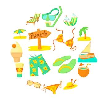 Conjunto de iconos de descanso del mar, estilo de dibujos animados