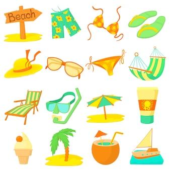 Conjunto de iconos de descanso de mar