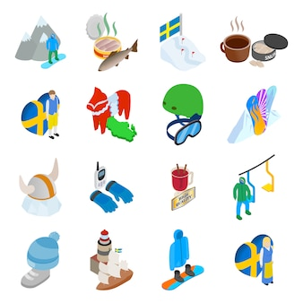 Conjunto de iconos de descanso de montaña