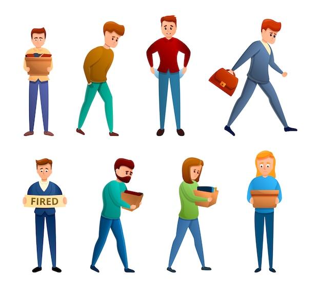 Conjunto de iconos desempleados, estilo de dibujos animados