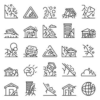 Conjunto de iconos de deslizamientos de tierra, estilo de contorno
