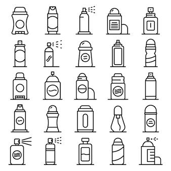 Conjunto de iconos de desodorante, estilo de contorno