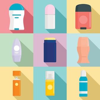 Conjunto de iconos de desodorante, estilo plano