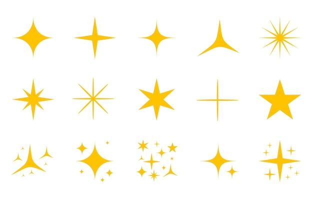 Conjunto de iconos de destellos de oro amarillo, aislado