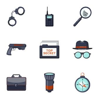 Conjunto de iconos detective, estilo de dibujos animados