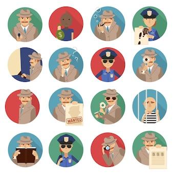 Conjunto de iconos de detective privado