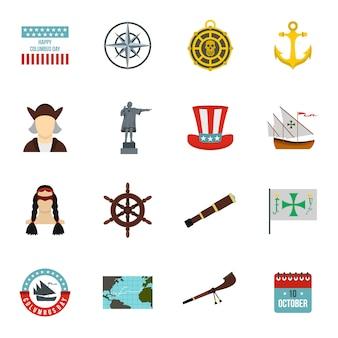 Conjunto de iconos del día de colón