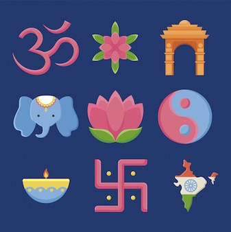 Conjunto de iconos del día de la independencia de la india