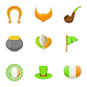 Conjunto de iconos del día irlandés, estilo de dibujos animados