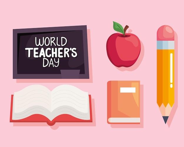 Conjunto de iconos del día mundial del maestro