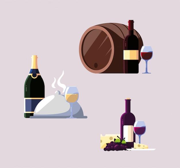 Conjunto de iconos del día nacional del vino