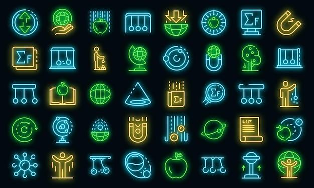 Conjunto de iconos de día de newton. esquema conjunto de iconos de vector de día de newton color neón en negro