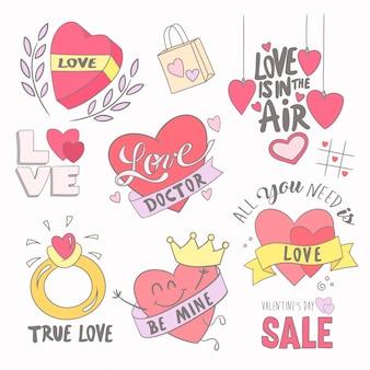 Conjunto de iconos para el día de san valentín.