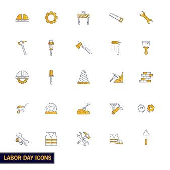 Conjunto de iconos del día del trabajo