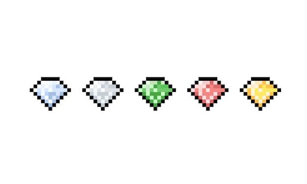 Conjunto de iconos de diamante de dibujos animados de pixel art.