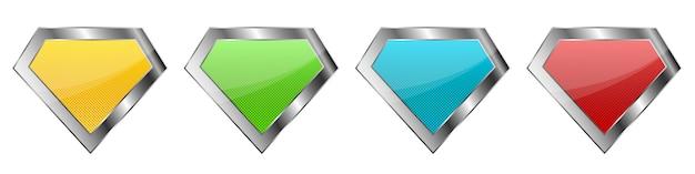 Conjunto de iconos de diamantes. iconos de cristal