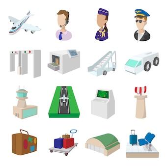 Conjunto de iconos de dibujos animados de aeropuerto aislado