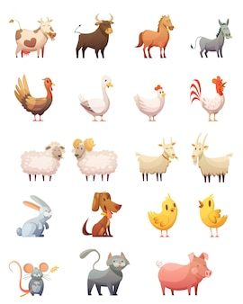 Conjunto de iconos de dibujos animados de animales de granja de gallina gobbler vaca caballo ram gato conejito aislado ilustración vectorial