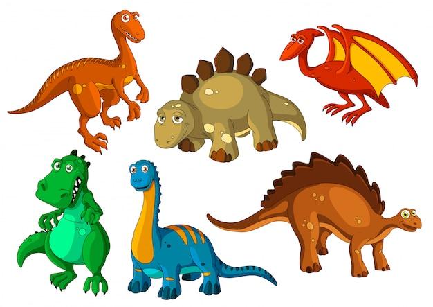 Conjunto de iconos de dibujos animados de animales prehistóricos de dinosaurios