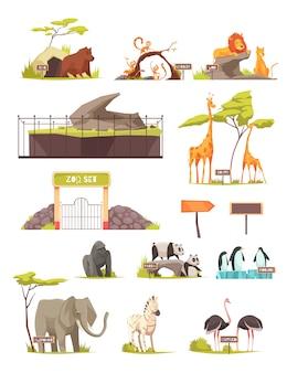 Conjunto de iconos de dibujos animados de animales de zoológico colección